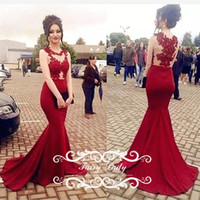 Wholesale Best Long Back Dress - Best Selling Red Mermaid Evening Dresses Wear Sheer Neck Illusion Bodice Long Appliques and Beads Sleeveless Satin Party Prom Dress Gown