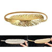 Wholesale Elastic Chain Belt - Wholesale- Original Luxury Gold & Silver Women Wedding Belt for dress Metal Feather Buckle Elastic Chain Belts For Women Cintos bg-33