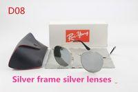 Wholesale Italian Brand Glasses - 1pcs Men's Ladies Round Silver Stained Glass Lens 50mm Sunglasses Italian Brand Designer Gold Driving Glasses Black Box