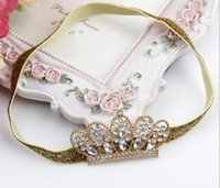 Wholesale Baby Crystal Crowns - Girls Children Baby Princess Party Crystal Crown Tiara Hair Head Band YH394