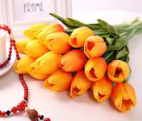 tulpensträuße großhandel-50 STÜCKE Latex Tulpen Künstliche PU Blume bouquet Real touch blumen Für dekoration Hochzeit Dekorative Blumen 11 Farben Option