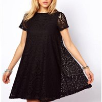2017 Womens Elegant Sexy Lace Hollow Out Sehen Sie durch Tunika Casual Club Mutter Kleid Schlittschuhläufer A-Line Party Plus Size Dress