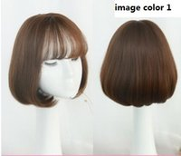 Wholesale Air Wigs - Women Air Bangs Wig Female Short Hair Bobo Pear Head Straight Synthetic Hair Extension Fake Haipiece