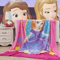 Wholesale Princess Sofia Fabric - 2016 New 1.5x2M Princess Sofia Coral Fleece Blanket Air Conditioning Cartoon Blanket Sheets Christmas Gifts Girl Birthday Gifts
