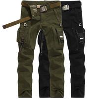 Wholesale army full combat uniform online - Military Uniform Mens Black Pants Casual Multi Pocket Cargo Trousers Male large Size Army US Tactical Combat Pants