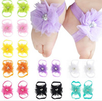 Wholesale first foot - Baby Sandals Flower Shoes Cover Barefoot Foot Lace Flower Ties Infant Girl Kids First Walker Shoes Photography Props A44 Colors A44