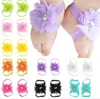 tampas do pé do bebê venda por atacado-Sandálias do bebê Flor Sapatos Cobrir Com Os Pés Descalços Laço Laços Flor Menina Infantil Crianças Primeiro Walker Sapatos Fotografia Adereços A44 16 Cores A44