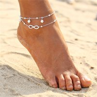 Wholesale Infinity White Pearl Bracelet - Vintage Gold Silver Color Anklet Women 2 Layers Bohemian Beach Ankle Bracelet Boho Pearl Infinity Foot Jewelry