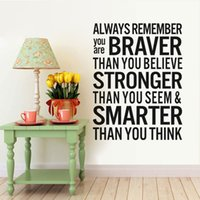 Wholesale Wall Sayings For Home - Braver Stronger Smarter Inspirational Saying quotes DIY Removable Wall Stickers Decals quotes Mural Living room Home Decor