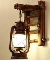 Wholesale Chinese Bamboo Glasses - AC100-240V Chinese Style Novelty Bamboo Ladder Wall lamps Creative barn lantern Bronze Wall lightings E27 Sconce decor lighting LLFA