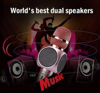 Wholesale Home Karaoke Player - E103 Wireless Microphone Karaoke player Party home KTV Singing Record Wireless Bluetooth Speaker For Iphone Samsung Smartphones Free Ship