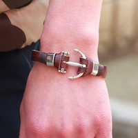 Wholesale British Anchor - Europe and the United States trend of British wind leather anchor fashion bracelet retro naval style fashion men and women bracelet jewelry