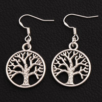 Wholesale 925 tree - Tree Of Life Earrings 925 Silver Fish Ear Hook 40pairs lot Antique Silver Chandelier E463 20x40mm