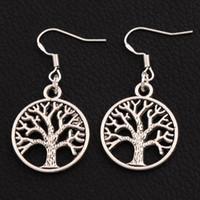 kulak gümüş için kanca toptan satış-Hayat ağacı Küpe 925 Gümüş Balık Kulak Kancası 40 çift / grup Antika Gümüş Avize E463 20x40mm