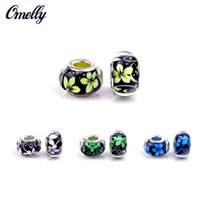 Wholesale Cheap Coin Jewelry - European Beads Silver Filled Glass Flower Pandora Jewelry Making Handmade Lampwork Pandora Beads Charms DIY Bracelet Wholesale Cheap