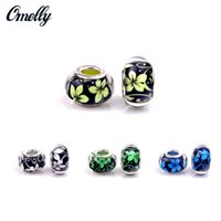 Grânulos europeus Prata Filled Glass Flower Pandora Jóias Fazendo Handwork Lampwork Pandora Beads Charms DIY Bracelet Wholesale Cheap