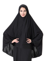 long voile noir achat en gros de-Gros femme musulmane long voile arabie bonnets filles dame couleur noire tête bandanas
