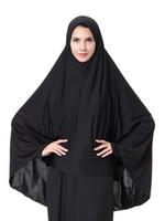 gorro musulmán al por mayor-Venta al por mayor de la mujer musulmana de velo largo Arabia bonnets niñas dama color negro cabeza Bandanas