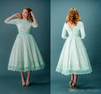 Wholesale Tea Length Dress Draped - Vintage Mint Green Lace Teal Length A Line Wedding Dresses With Half Long Sleeves V Backless Plus Size Modest Garden Bridal Party Gowns