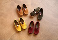 Wholesale Brown School Shoes - fashion 2017 spring autumn brand designer kids peas shoes rubber insoles casual breathable flat slip on loafers school children new arrival
