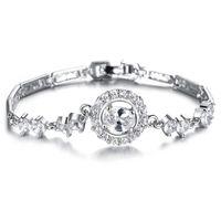 pulseira de mulheres asiáticas venda por atacado-2017 hot asian mulheres diamante platinadas pulseira de titânio para o presente