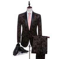 Wholesale suits neck designs for men - Men Latest Coat Pant Designs Black Velvet Leopard Print Men's Suits Luxury Wedding Suits For Men Stage Wear