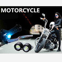 Wholesale Motorcycle Headlight Lenses - Motorcycle led headlight Led Strobe Flash Warning Light Brake Light Spotlights Fish Eye Lens Lamp Waterproof Super Bright