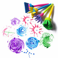 Wholesale Paints For Kids - Wholesale- New 2016 4pcs set Drawing Toys diy flower Graffiti sponge Art Supplies Brushes Seal Painting Tool Funny creative toys for kids