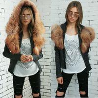 Wholesale Lingerie Jacket - Simple Artificial Fur Coat Lingerie Jacket Long Sleeve Jacket 2017 Fall Winter Sweater Cut Jacket