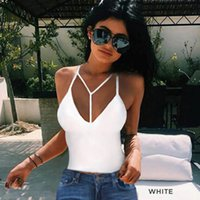 Wholesale Women Bra Cotton Blend Solid Crop Bustier Bralette Corset Tops Tank Top Blouse V Neck T Shirt Sleeveless Wrapped Chest Harness