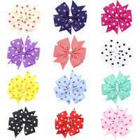 Wholesale Grosgrain Ribbon Printed Dot - 14 colors Baby Girls Dots print Bow Hairpins Grosgrain Ribbon Bows Clips Childrens Hair Accessories Kids Boutique Bow Barrettes 11cm
