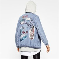 Wholesale Lady S Denim - women embroidery patch denim bomber jacket coat long sleeve pockets casual outwear casual coats ladies punk jeans top capa