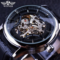 Wholesale Winner Skeleton Silver Automatic - Winner Stylish Casual Skeleton Design Mens Watch Top Brand Luxury Transparent Case Black Silver Dial Mechanical Watch Male Clock
