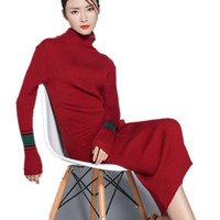 Wholesale Cashmere Tights Women - and winter long section of high-necked tight sweater ladies fashion knitwear hip knees cashmere sweater sets of wool sweater