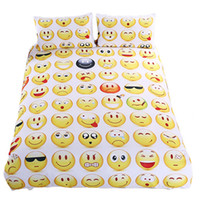 Wholesale Kids Pillow Cases - Emoji Bedding Set Cute Expression Duvet Cover Set Printed Pillow Cases Bed Cover Sheet For Kids 3pcs set 0711058