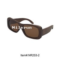 Wholesale Huge Drive - fashionable huge brown lens brown bamboo frame driving sunglasses