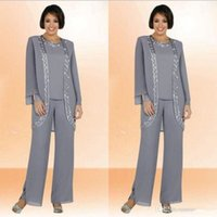 Wholesale Cheap Silver Suits - Silver Gray Shiny Chiffon Mother Of the Bride Suit 2017 Plus Size Three Pieces Cheap Embroidery Formal Women's Suits Custom Made