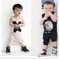 Wholesale Long Sleep Baby Suits - 2 Design Baby Romper Suit Cotton Sleeveless Letters NO SLEEP Printing Rompers Boys Girls Costumes Toddlers BodysuitsTights Sets