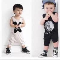 pamuklu bebek uyku toptan satış-2 Tasarım Bebek Romper Takım Elbise Pamuk Kolsuz Mektuplar HIÇBIR UYKU Baskı Tulum Boys / Kızlar Kostümleri Toddlers BodysuitsTights Setleri