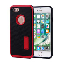 kickstände für handys großhandel-Für Apple iPhone 7 7 Plus Fall 2 in 1 mit Kickstand Motomo stent kohlefaser TPU PC Stoßfest handy Abdeckungen