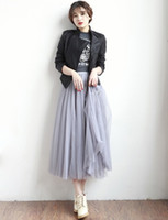 Wholesale Maxi Elastic Waist Chiffon Skirt - Mesh Tulle Skirts Women Summer Elastic High Waist Ladies long mesh Skirt Womens Tutu Maxi Pleated Skirt midi Faldas Saias