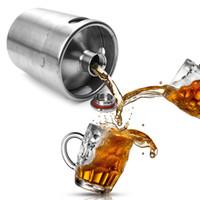 Wholesale Wholesale Mini Pots - 2L Homebrew Growler Mini Keg Stainless Steel Beer Growler Beer Keg Screw Cap Wine Pot Beer Barrel OOA2139