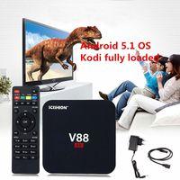 Wholesale Android Logos - Android TV Box Quad Core Rockchip 3229 TV Boxes Fully Loaded 6.0 OS Smart TV Box Lego Box Logo V88