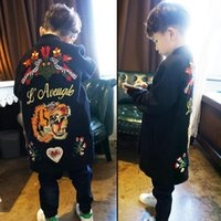 Wholesale Trench Kids Boys - 2017 New Fashion embroidery floral tiger boys Autumn Coat Children Trench Coat boy long Coat Children Outwear Novelty Kids Clothing A1096