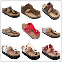 Wholesale Sandals Watermelon - New Famous Brand Arizona Men Flat Heel Flip Flops Sandals Women Fashion Summer Beaches Casual Shoes Good Quality Genuine Leather Slippers
