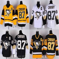 Wholesale Sidney Crosby Home Black White Throwback Yellow Jersey Cheap Hockey Jerseys Pittsburgh Penguins Stitched Uniforms Mix Order