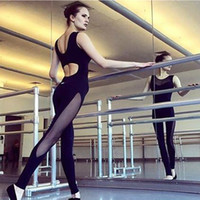 Wholesale Sexy Elastic Jumpsuits - One Piece Sexy Women Net Yarn Gym Fitness Clothing Suit Elastic Fitness Tights Running Tight Jumpsuits Sportswear Clothes Yoga Sets