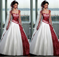 Wholesale gothic white wedding dresses online - Red and White Gothic Wedding Dresses Square Fall Plus Size Ball Gowns Short Sleeve Organza Sweep Train Sexy Backless Bridal Custom Made