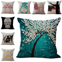 Wholesale 150 TYPE Pillow Case Girl Tree Of Life Fornasetti maestro Totoro Mr Mrs Flamingo Walking Dead Sugar Skull Bulldog Cushion Cover Pillowcase