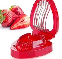 fraise achat en gros de-Fraise Trancheuse En Plastique Fruits Sculpture Outils Salade Cutter Cuisines Gadgets Accessoires Outils Cutter En Acier Inoxydable Trancheuse À Lame